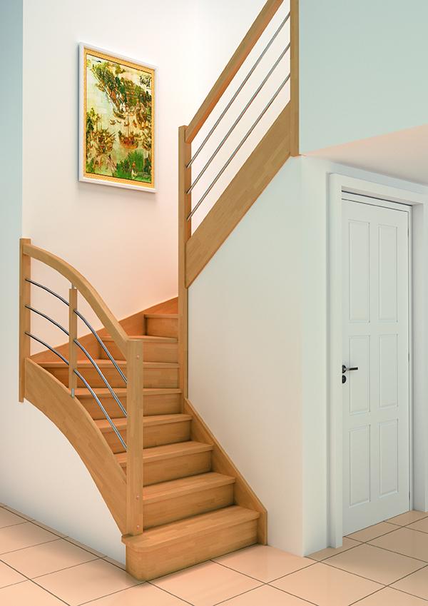Escaliers bois authentique groupe riaux escaliers for Escalier bois double quart tournant